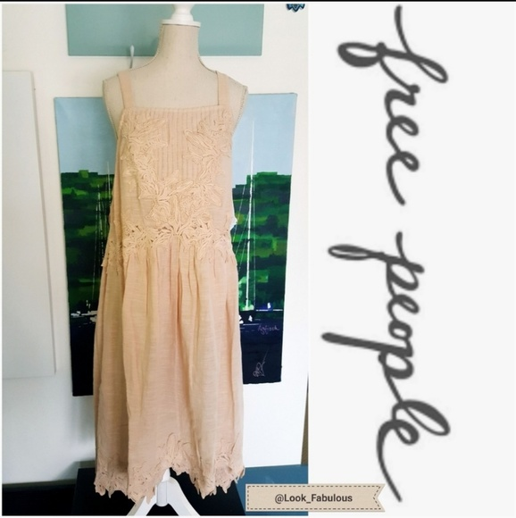Free People Dresses & Skirts - NWT FREE PEOPLE PEACH EMBROIDERED OVERSIZE DRESS